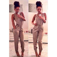 Fashion sexy pure color Jumpsuits  7304CT