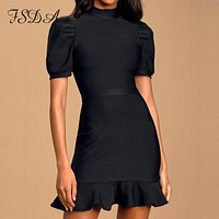 Fsda Coltrui Vrouwen Bodycon Office Dress Ruches Zomer Korte Mouw Bladerdeeg Mini Black Club 2020 Vintage Casual Jurken