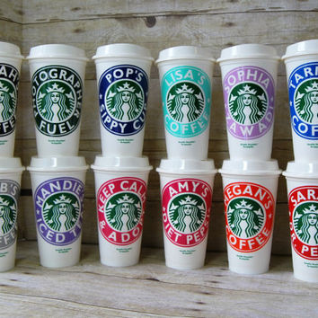 Personalized Coffee Cup - Custom - Reusable Starbucks Cup - Eco Friendly - Choose Your Name and Color