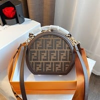 Fendi double F printed letter women's round cake bag shoulder bag