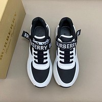 Burber*y  Men Fashion Boots fashionable Casual leather Breathable Sneakers Running Shoes