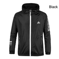 ADIDAS 2018 Autumn Sportswear Hooded Casual Jacket Black