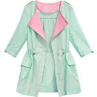 ROMWE Color Block Drawstring Loose Light-green Coat