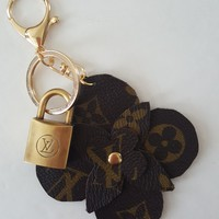Louis Vuitton (reworked) Bag Charm   Key Ring w/ vintage lock   Keychain   Handmade from Repurposed LV Canvas
