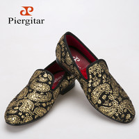 Gold cashew flowers prints men velvet shoes Party and Wedding loafers British style smoking slipper men's flats
