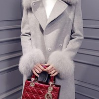 Grey Patchwork Sashes Fur Collar Long Sleeve Fashion Coat