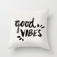 """18"""" x 18"""" Good Vibes Black Ink Decorative Throw Pillow Case Cushion Cover"""