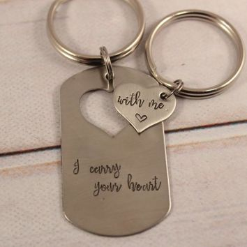 Custom heart dog tag keychain set