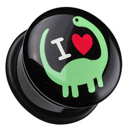 'I Heart Dinosaur' Single Flared Ear Gauge Plug