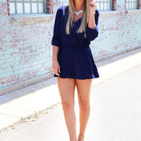 She's A Lady Romper {Navy}