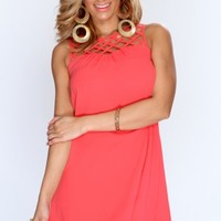 Coral Caged Neckline Sleeveless Casual Dress