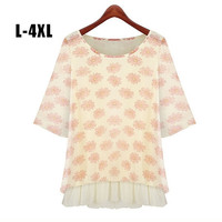 L-XXL XXXL 4XL Plus Size Flower Printed Chiffon Blouse Women Summer Blouse Big Size = 1958640388
