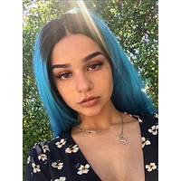 Long Deep Ice Blue Ombre Synthetic Lace Front Wig