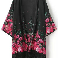 Black Fringed Kimono with Pink Floral Print