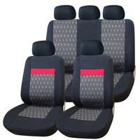 Adeco 9-Piece Car Vehicle Protective Seat Covers, Universal Fit, Black/Red/Gray