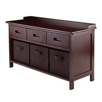 Adriana 4-Pc Storage Bench Set with 3 Foldable Chocolate Fabric Baskets -Winsome Wood