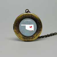 Vintage Style Glass Locket Necklace with I Heart Oklahoma
