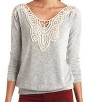 Crochet-Topped Marled Long Sleeve Top by Charlotte Russe - Gray Combo