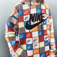 NIKE New fashion letter hook couple multicolor hooded long sleeve sweater