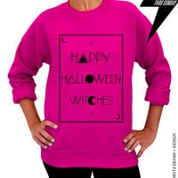 Halloween Shirt - Tarot - Happy Halloween Witches - Pink Unisex Crew Neck
