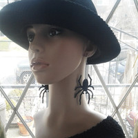 Dangling Denim Fabric Spider Earrings with Silver Chain, Womens Earrings, Ladies Earrings, Dangling Earrings, Fabric Jewelry