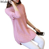 Woherb S-3XL Korean Fashion Women Sweaters 2018 Newly Autumn Long Sleeve Pullovers Patchwork Plus Size Knitted Sweater 41639