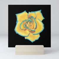 Yellow and Turquoise Rose on Black Mini Art Print by drawingsbylam