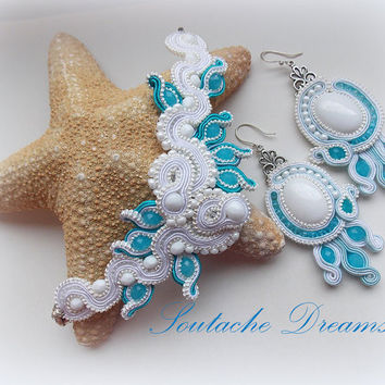 "Soutage Set ""Serenity"" White Jade Gemstone Swarovski Chrystal Perfect Gift Idea Soutache Bracelet And Dangle Earrings"