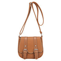 Brown PU Leather Contrast Color Double Buckle Design Vintage Cross-body Bag