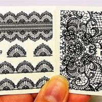 Water Decals 2 Sheets Black Gothic lace Nail Wrap, Lace Nail Decal,
