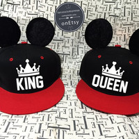KING And Queen Couples Hats Mickey Mouse hats Mickey Hats King Hat Queen Hat Snapback set