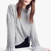 J.Crew Feather Sleeve Crewneck Sweater | Nordstrom