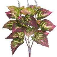 "Fuchsia Green Large Fake Coleus Leaf Plant - 19"" Tall"