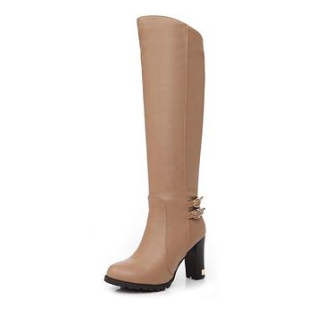 Pu Leather Tall Boots Chunky High Heel for Women 8195
