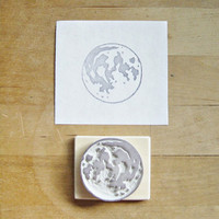 NEW Full Moon - Small Hand-Carved Rubber Stamp