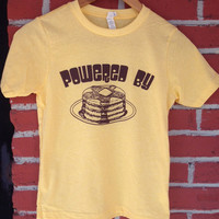 Kids Powered By PANCAKES Screen Printed KIDS T Shirt Youth Sizes