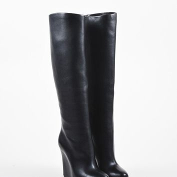 DCCK2 Black Christian Louboutin Leather Concealed Wedge   Zepita   Boots