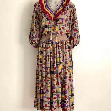 DIANE FREIS!!! Vintage 1980s 'Diane Freis' abstract print, pattern clash dress with pleated striped accents and tie neck