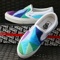 Custom Hand Embroidered Vans Shoes Saltwater by SurfsideStitch