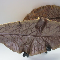 Set of concrete leaves, Brown Cauliflower leaf, gold, metallic, Patio decor, Wall hangers, Home decor