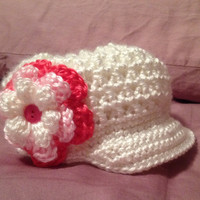 Crochet Textured Girls Newsboy Hat 1 to 6 Years Old White and Pink