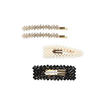 HDH2623 - GLASS BEADS AND PEARL HAIR PIN SET