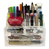 Cosmetic Organizer with Drawers and Removable Lipstick Organizer- Acrylic with 20 Compartments by D'Eco