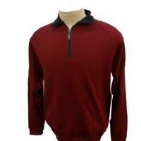 Boston Traders Men's Quarter-Zip Sweater Red Medium