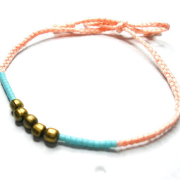 Light salmon coral braided knotted friendship bracelets - turquoise seed beads antique brass beads simple delicate free people inspired