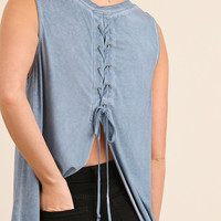 Light Blue Washed Lace Up Back Top