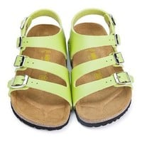 Birkenstock Leather Cork Flats Shoes Boys and girls Casual Sandals Shoes Soft Footbed Slippers-9