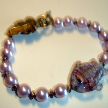 Glass Fish, Gold Tone Beads and Pink Pearls with a Neat Leaf Toggle Clasp Bracelet