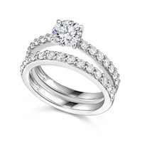 Sterling Silver Wedding Set CZ Bridal Solitaire Engagement Ring and Band size 5-9