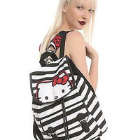 Licensed cool NEW Hello Kitty Cat Backpack Slouch School Book Bag Black White Stripe San Rio
